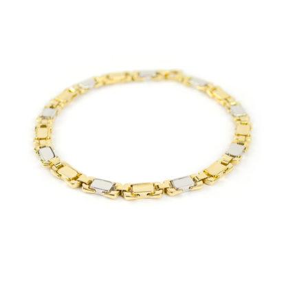 Bracciale oro giallo bianco, bracciale uomo in oro giallo e bianco 750, lineare, catena a canna vuota, liscia e lucida, di larghezza 5,80 mm