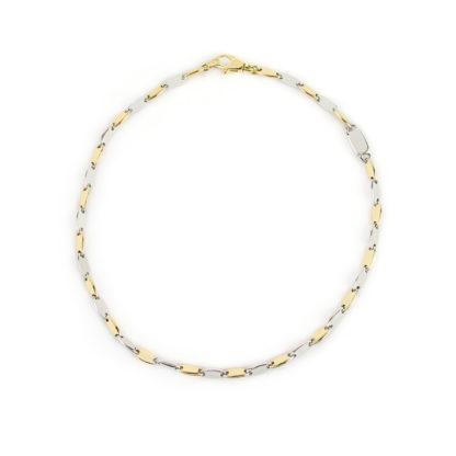 Bracciale uomo oro, bracciale uomo in oro giallo e bianco 750, lineare, catena a canna vuota, liscia e lucida, di larghezza 2,5 mm