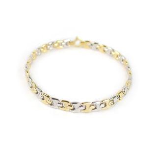 Bracciale uomo oro, bracciale uomo in oro giallo e bianco 750, lineare, catena a canna vuota, liscia e lucida, di larghezza 5,70 mm