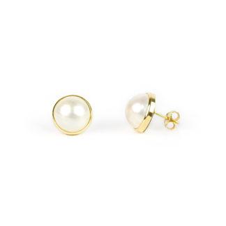 Orecchini perle mabè oro, orecchini perno e farfallina oro giallo tit 750 (18 kt) con perla coltivata mabè su montatura in oro di diametro esterno 14,70 mm