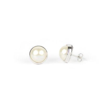 Perle mabè oro bianco, orecchini perno e farfallina oro bianco tit 750 (18 kt) con perla coltivata mabè su montatura in oro di diametro esterno 13 mm