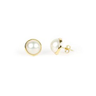 Perle mabè oro giallo, orecchini perno e farfallina oro giallo tit 750 (18 kt) con perla coltivata mabè su montatura in oro di diametro esterno 12,5 mm