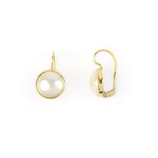 Perle mabè monachelle oro, orecchini in oro giallo tit 750 (18 kt) con perla coltivata mabè su montatura di diametro esterno 13,60 mm