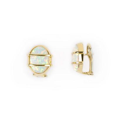 Orecchini oro modello opale, orecchini a clips con perno in oro giallo tit 750 (18 kt) con pietra di laboratorio modello opale
