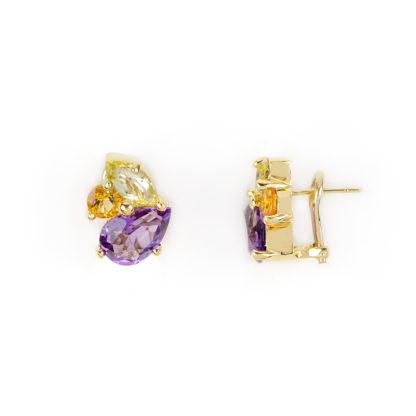 Orecchini clips pietre naturali, orecchini a clips con perno in oro giallo tit 750 (18 kt) con pietre naturali: ametista, topazio orange e prasiolite
