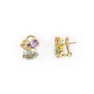 Orecchini clips oro pietre, orecchini a clips con perno in oro giallo tit 750 (18 kt) con pietre naturali: prasiolite, topazio citrino e ametista