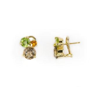Orecchini clisp oro giallo, orecchini a clips con perno in oro giallo tit 750 (18 kt) con pietre naturali: quarzo fumè, topazio citrino e peridoto