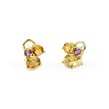 Clips oro pietre naturali, orecchini a clips con perno in oro giallo tit 750 (18 kt) con pietre naturali: topazio citrino, topazio orange e ametista