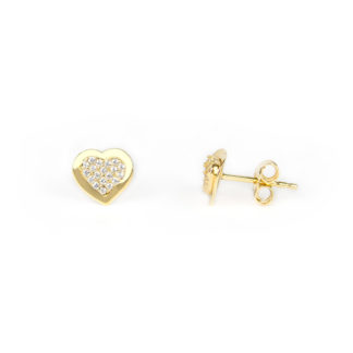Orecchini cuore oro giallo, orecchini perno e farfallina in oro giallo tit 750, con cuore pavé di zirconi; orecchini donna e bambina