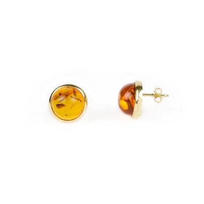 Orecchini oro giallo ambra, orecchini perno e farfallina in oro giallo tit 750, con ambra su montatura in oro giallo lucida di diametro 13,70 mm