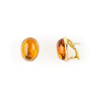 Orecchini clips oro ambra, orecchini donna con chiusura a clips con perno in oro giallo tit 750 (18 kt) con pietra ambra ovale