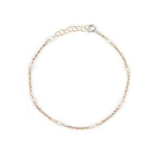Bracciale oro rosa perle, bracciale donna in oro rosa 750 e chiusura in oro bianco 750, con perle di 2,5-3 mm coltivate acqua dolce