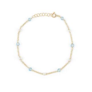 Bracciale oro topazio perle, bracciale donna in oro giallo 750, con topazio azzurro tondo e sfaccettato alternato a perle coltivate acqua dolce