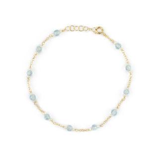 Bracciale topazio azzurro perle, bracciale donna in oro giallo 750, con topazio azzurro tondo e sfaccettato, con perle coltivate acqua dolce