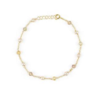 Bracciale perle ambrate topazio, bracciale donna in oro giallo 750 con topazio citrino di diverse sfumature alternato a perle ambrate coltivate acqua dolce