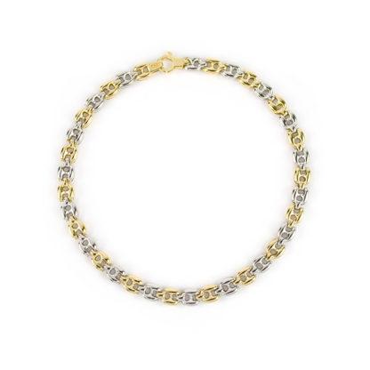 Bracciale uomo oro, bracciale in oro giallo e bianco 750, lineare, catena a canna vuota, liscia e lucida, di larghezza 4,8 mm