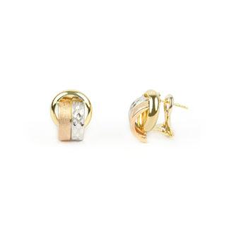 Orecchini clips oro, orecchini a clips con perno in oro tit 750 (18 kt), oro giallo lucido, oro rosa satinato e oro bianco lavorazione diamantata