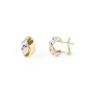 Clips oro giallo bianco, orecchini clips con perno in oro tit 750 (18 kt), oro giallo lucido e oro bianco lavorazione diamantata