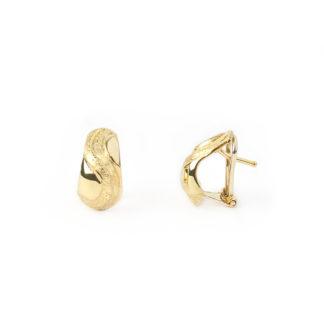 Orecchini clips oro giallo, orecchini donna a clips con perno in oro giallo tit 750 (18 kt) lucido e satinato