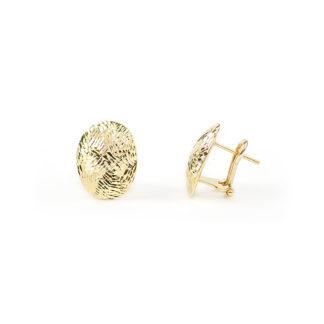 Orecchini clips oro giallo, orecchini donna a clips con perno in oro giallo tit 750 (18 kt) lavorazione diamantata