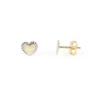 Orecchini cuore oro, orecchini perno e farfallina oro tit 750 a cuore con al centro oro giallo lucido e contorno in oro bianco lavorazione diamantata