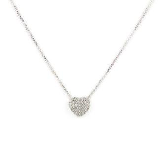 Collana cuore double face, collana donna girocollo in oro bianco tit 750 (18 kt) double face con cuore pavé di zirconi e retro liscio e lucido