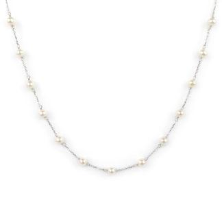 Collana oro bianco perle, collana girocollo donna in oro bianco tit 750 (18 kt) con perle di 4,5 mm coltivate acqua dolce