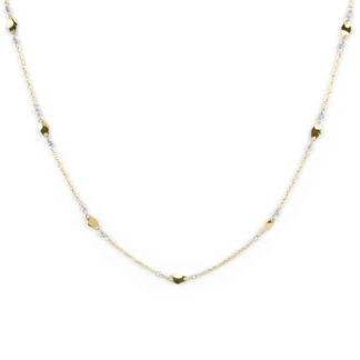 Collana oro giallo bianco, girocollo donna in oro giallo tit 750 (18 kt) con elementi lisci e lucidi in oro giallo e palline slash di 1,5 mm in oro bianco