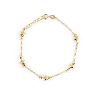 Bracciale stelle oro giallo, braccialetto donna ragazza in oro giallo 750 18kt, con stelle di 6 mm bombate, lisce e lucide