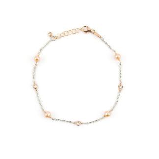 Bracciale oro bianco e rosa, braccialetto donna in oro rosa e oro bianco 750, con perle rosa coltivate acqua dolce alternate a zirconi incassati a notte