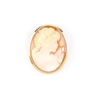 Spilla cammeo ovale donna, spilla donna in oro giallo tit 750 (18 kt) con cammeo ovale di conchiglia incisa, si può indossare anche come ciondolo
