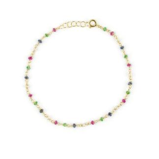 Bracciale pietre colorate oro donna in oro giallo 750 con perle coltivate acqua dolce e pietre colorate: rubino, tsavorite e radice di zaffiro