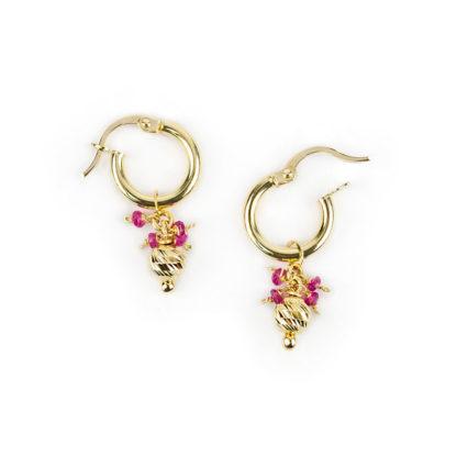 Orecchini cerchio oro rubino orecchini a cerchio in oro giallo tit 750 (18 kt) con ciondolo rimovibile composto da una pallina slash e rubini