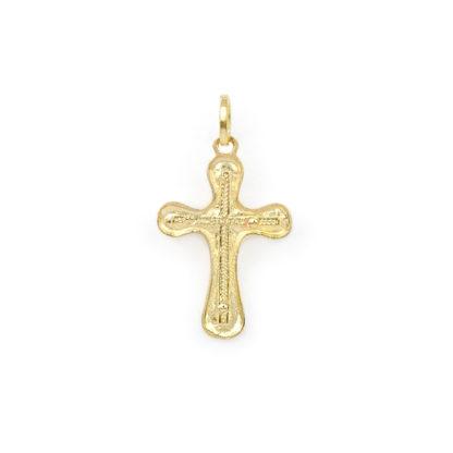 Ciondolo croce Gesù oro, croce uomo in oro giallo tit 750 (18 kt) modello croce con Gesù, massiccia, finitura lucida e satinata