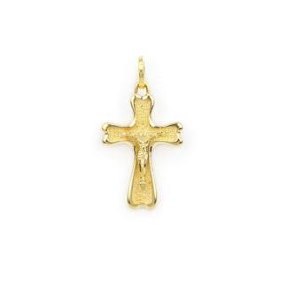 Ciondolo croce con Gesù, croce uomo in oro giallo tit 750 (18 kt) modello croce con Gesù, massiccia, finitura lucida e satinata