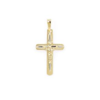 Croce Gesù oro bianco giallo, ciondolo bicolore in oro giallo e oro bianco tit 750 (18 kt) modello croce con Gesù, a lastra massiccia e lucida