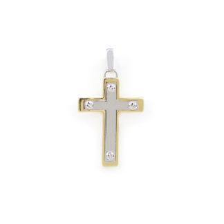 Croce oro giallo bianco, ciondolo croce uomo bicolore in oro giallo e bianco tit 750 (18 kt) modello croce scatolata, lucida