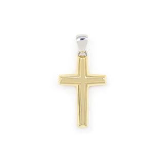 Ciondolo croce oro giallo, croce uomo bicolore in oro giallo e oro bianco tit 750 (18 kt) modello croce scatolata, lucida