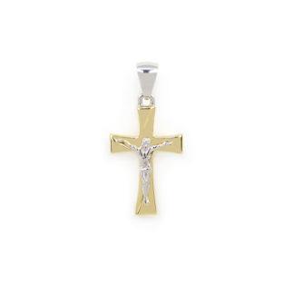 Croce oro giallo bianco, ciondolo uomo bicolore in oro giallo e bianco tit 750 (18 kt) modello croce scatolata con Gesù, lucida