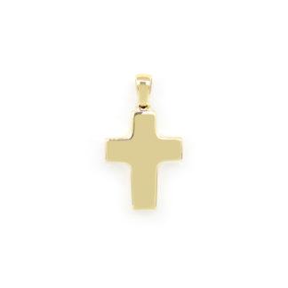 Ciondolo croce uomo oro, ciondolo uomo croce in oro giallo tit 750 (18 kt) modello croce scatolata lucida di dimensione 1,50 x 2,50 cm