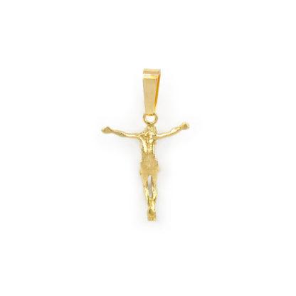 Ciondolo Gesù oro giallo, ciondolo uomo in oro giallo tit 750 (18 kt) modello Gesù, massiccio, lucido e satinato di dimensione 1,80 x 3 cm