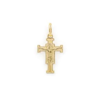 Croce Giotto oro giallo, ciondolo in oro giallo tit 750 (18 kt) modello croce Gesù Giotto, a lastra massiccia, lucida e satinata