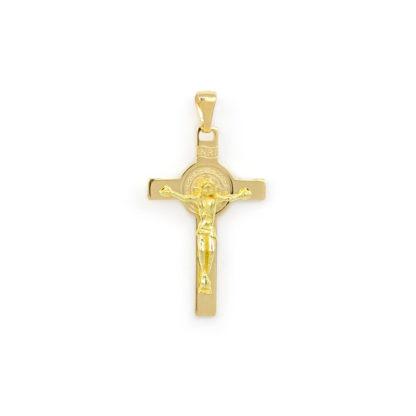 Croce San Benedetto oro, ciondolo in oro giallo tit 750 (18 kt) modello croce San Benedetto, a lastra massiccia, lucida e satinata