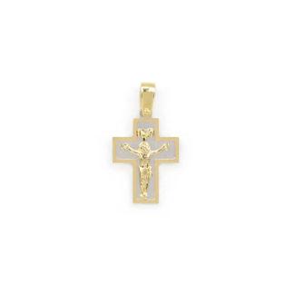 Croce bicolore oro Gesù, ciondolo bicolore in oro giallo e bianco tit 750 (18 kt) modello croce con Gesù, a lastra massiccia, lucida e satinata
