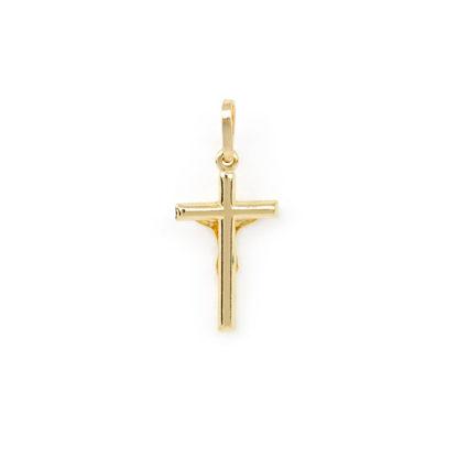 Croce Gesù oro giallo, ciondolo in oro giallo tit 750 (18 kt) modello croce con Gesù, scatolata, lucida, di dimensione 1 x 2,70 cm