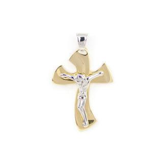 Croce oro con Gesù, ciondolo bicolore in oro giallo e bianco tit 750 (18 kt) modello croce con Gesù, massiccia, lucida, di dimensione 3 x 5 cm