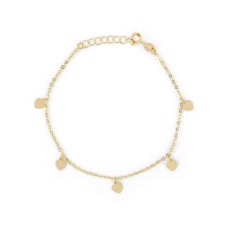 Bracciale oro cuori pendenti, braccialetto donna, ragazza, bambina in oro giallo 750 18kt con cuori lucidi pendenti di 4,5 mm