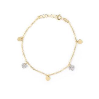 Bracciale oro cuori zirconi, braccialetto donna e ragazza in oro giallo 750, con cuori pendenti lucidi di 4,5 mm e pavé di zirconi di 5,7 mm