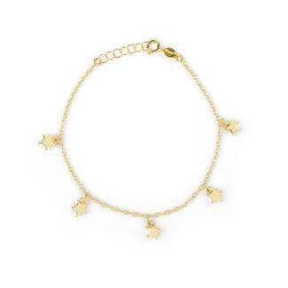 Bracciale stelle oro giallo, braccialetto donna, ragazza e bambina in oro giallo 750, con stelle pendenti bombate e lucide di 6 mm