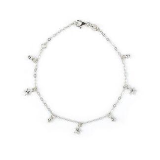 Bracciale stelle oro bianco, braccialetto donna e ragazza in oro bianco 750, con pendenti di stelle di 4,6 mm e palline sfaccettate di 2,8 mm